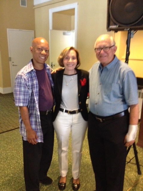 Illustrator and Author, Brian Pinkney with Director, Dr. Lesley M. Morrow, and Author, Seymour Simon at the Rutgers Center for Literacy Development Informational Literature Conference Day in July 2014